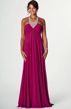 1dec0a853e3 V-Neck Beaded Sleeveless Empire Chiffon Prom Dress