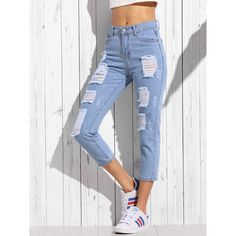 Blue Ripped Skinny Ankle Jeans ($4.99) ❤ liked on Polyvore featuring jeans, blue jeans, torn jeans, destroyed skinny jeans, blue ripped skinny jeans and destruction jeans