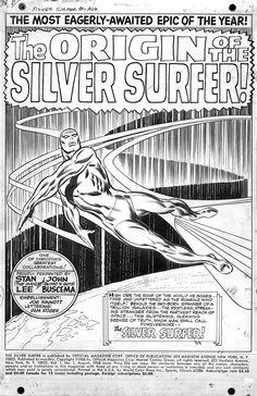 Original art to title page splash of  Silver Surfer#1(1968)by John Buscema.