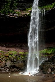 A swimming hole under Kaaterskill Falls in Hunter, N.Y., in Greene County. (Photo: David B. Torch for The New York Times)