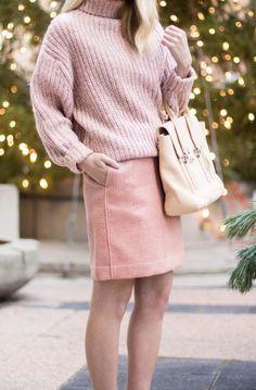 Skirt: sequin mini pink sequins sweater pink sweater all pink everything bag pink bag turtleneck
