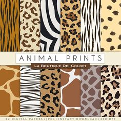Animal prints digital paper. Safari Scrapbook paper pack. tiger skin, leopard dots, zebra stripes backgrounds patterns for commercial use Ideal for party decorations, cards, banners, printing for scrapbooking, accessories, birthdays, blog backgrounds, embroidery, textile, design and much more!
