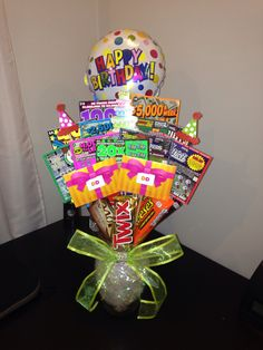 40 Ideas Basket Gift For Men Lottery Tickets For 2019 # lottery ticket gift ideas Birthday Gift Cards, 40th Birthday Gifts, Birthday Diy, Boss Birthday, Birthday Club, Birthday Bouquet, Birthday Gift Baskets, Cute Gifts, Diy Gifts