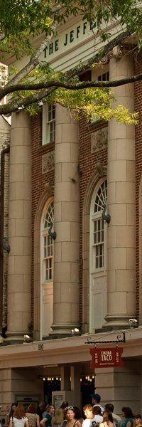 The historic Jefferson Theater on the downtown mall in Charlottesville, VA