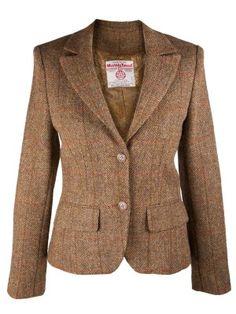 HARRIS TWEED Ladies Tammy Jacket 100% Pure New Wool Handwoven Mustard Check