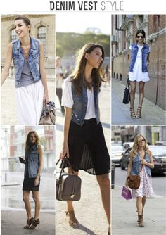 Denim Vest Style  Definitely want to rock one of these this summer. I've seen so many around but haven't had the money
