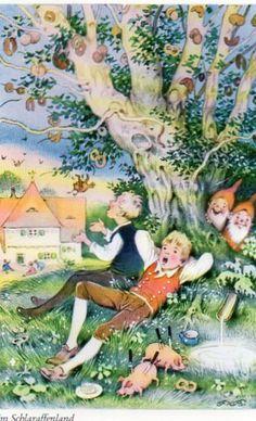 Fairytale postcard Im Schlaraffenland Fritz Baumgarten
