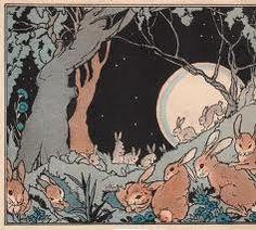 illustration, animal, rabbit, night, tree, woodland, landscape. bunny moon 1920's