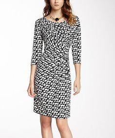 Another great find on #zulily! Black & White Digital Ruched Scoop Neck Dress #zulilyfinds