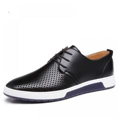 aec52bc0b03da Merkmak New 2018 Men Casual Shoes Leather Summer Breathable Holes Luxury  Brand Price  37.00  amp