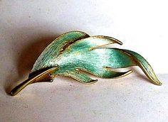 SOLD : Jonette Jewelry Leaf Jewelry - Brass JJ Leaf Brooch with Light Blue Enamel Color Wash - Vintage Costume Jewelry Lapel Pin