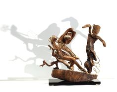 """Driftwood and bronze sculpture, """" GIPSY NIGHT """",Naturar Wood Recycled Art Sculpture. by driftwoodartwork on Etsy"""