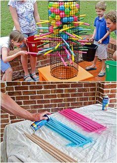 35 Ridiculously Fun DIY Backyard Games That Are Borderline Genius - Water Balloo. - 35 Ridiculously Fun DIY Backyard Games That Are Borderline Genius – Water Balloons – Ideas of W - Backyard For Kids, Diy For Kids, Kids Yard, Backyard House, Backyard Bbq, Cool Diy, Easy Diy, Diy Games, Diy Yard Games