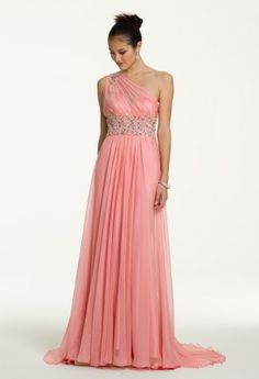 One Shoulder Grecian Prom Dress with Pleated Neckline from Camille La Vie and Group USA