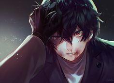 Dark bloody anime boy Persona 5