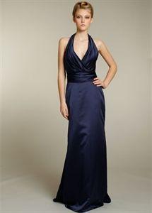 Jim Hjelm 5175 Navy Satin Prom Dress A-Line Halter V-Neck Formal Gowns   $132.00