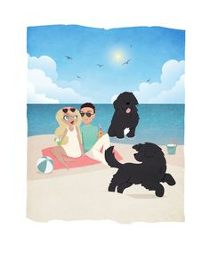 Summer on the beach with newfoundland dogs illustration -   by another view