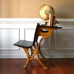 Marvelous Industrial School Desk Bench Desk Chair. Bamboo Mustard Yellow. Shabby  Chic. Childrens. Elementary. Mustard Orange. Fall Autumn Home Decor