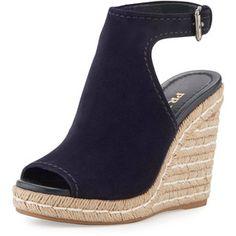 Prada Suede Open-Toe Espadrille Glove Sandal