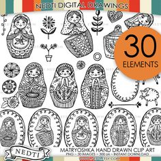 Matryoshka Russian Nesting Doll Doodle Hand Drawn Clipart, PNG Instant Download