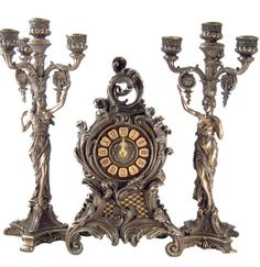 Romantic Gothic Clock and Lady Candelabra Sets     #centerpiece, home decor or gift idea.  ~~~~ www.CandelabraCenterpieces.info