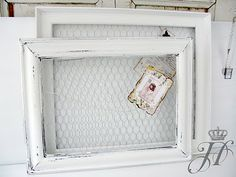 DIY:   Picture Frames -  repurposed frames are now used as memory boards by stapling   chicken wire to the back.