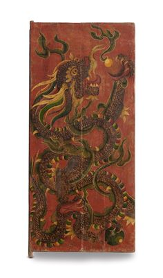 The Earth installation in the Jaya He Museum, conceived by #Rajeev Sethi has a composition of 64 tiger doors from North East India, this is one such door. Doors of Buddhist prayer rooms are painted, like this one with a dragon.In Tibetan Buddhist iconography, the dragon symbolises spring, change, and creative energy. The dragon possesses an elusive or hidden nature, with the ability to transmute its form at will.