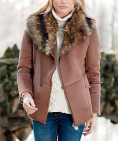 Another great find on #zulily! Tobacco Faux Fur Fox Coat - Plus Too #zulilyfinds