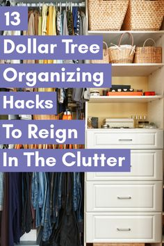 Get your stuff together this year! You can do it with Dollar Tree Organizing Hacks so you won't go broke getting a tidy home. Dollar Tree Organization, Organizing Ideas, Kitchen Organization, Storage Organization, Storage Ideas, Dollar Store Hacks, Dollar Stores, Deep Cleaning Tips, Cleaning Hacks