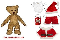 Image detail for -Christmas teddy bear paper doll to print out and cut.
