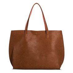 Women's Under One Sky Reversible Tote Handbag with Bonus Removable Wristlet - Cognac/Coral
