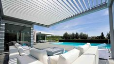 Modern Modular Shelter/Sunshades Custom Designed For Your Outdoor Sun-Rain-Wind Protection Needs. Gym Workouts For Men, Pool Houses, Outdoor Furniture, Outdoor Decor, Sun Lounger, Outdoor Living, Shelter, Custom Design, Building