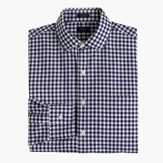 Tall Ludlow spread-collar shirt in navy gingham