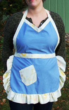 Ladies' Full Apron Blue with Yellow Floral by beforeNafterdesigns