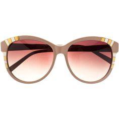 Heidi London - Decor Sunglasses Beige ($285) ❤ liked on Polyvore featuring accessories, eyewear, sunglasses, glasses, occhiali, óculos, retro sunglasses, uv protection sunglasses, retro round glasses and round glasses