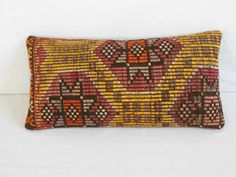 Hand Loom Modern Bohemian Kilim Pillow Cover with Traditional Turkish Designs and Motifs Wool Throw Pillow Turkish Cushion