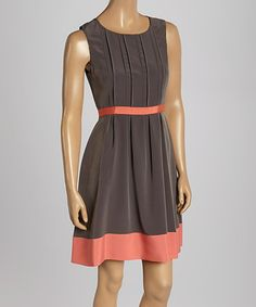 70bfa55adc Jessica Simpson Collection Gray   Orange Pleated Sleeveless Dress - Women