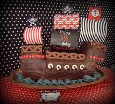 Awesome cake at a Pirate Party #pirate #partycake