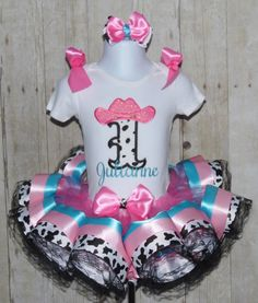 COWgirl Number ribbon trim tutu set ribbon trim by MommaMays