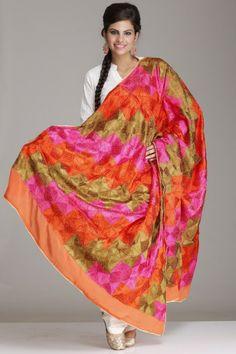 Pink, Green & Orange Pure Chinon Chiffon Phulkari Bagh Dupatta