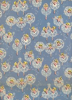 Vintage Christmas Wrap Wrapping Paper - Ice Skating Ballerina Snowflakes