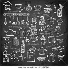 "Big set of kitchen utensils hand-drawn on blackboard.  Cups, teapots, pots. bottles. chopping boards etc. Contains inscription ""Bon appetit"" in different languages."