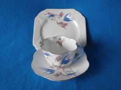 Shelley Trio Decorated With Blue Birds. Tea Cup, Saucer & Plate.