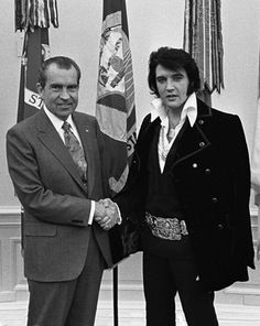 """One of the most popular photographs at the National Archives.  Richard M. Nixon and Elvis Presley met at the White House on December 21, 1970. The full story of the meeting is in the online exhibit """"When Nixon Met Elvis."""" (Nixon Presidential Materials Staff) [full image]"""