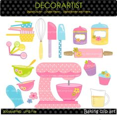 Baking clip art , Digital clip art for all use, Kitchen, Utensils, Mixer,cooking,clip art, INSTANT DOWNLOAD