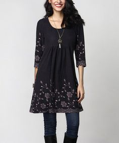 Another great find on #zulily! Charcoal Floral Empire-Waist Tunic Dress…