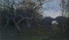 Twilight- Jan Stanislawski ,1900  Polish, . 1860 - 1907  Oil on canvas. 35 x 62 cm.  National Museum, Cracow.
