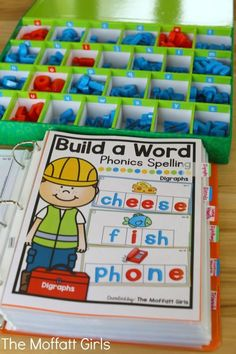 This is definitely worth the money! Build a Word Hands-On Spelling! Systematically move through phonics skills while boosting reading and spelling skills. The bundle includes CVC words, long vowels, blends, digraphs, trigraphs and more! Kindergarten Centers, Kindergarten Reading, Kindergarten Classroom, Teaching Reading, Guided Reading, Spelling Activities, Reading Activities, Literacy Activities, Sight Word Activities