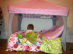 Pack  Play repurpose! Cut the mesh from one side, cover the top with fitted sheet, throw in some pillows... reading tent! THIS IS THE BEST IDEA EVER!!!!!!!!