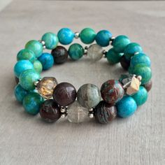 A personal favorite from my Etsy shop https://www.etsy.com/listing/237958460/chrysocolla-and-blue-sky-jasper-czech